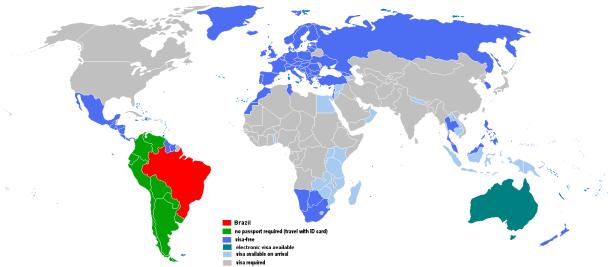 Vistos para Brasileiros por país